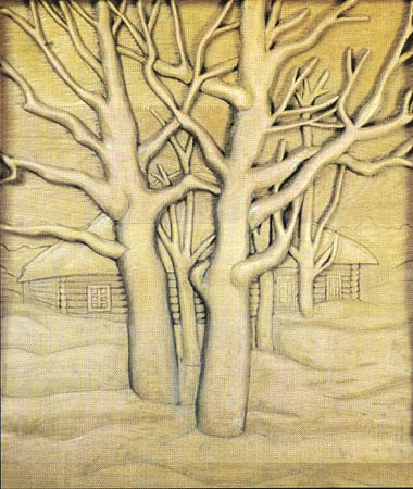 "\""Зима\"" резьба по дереву"